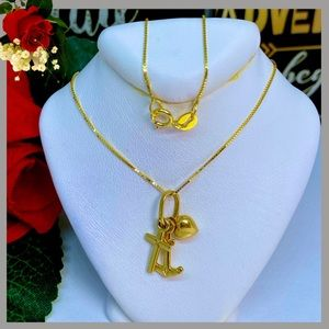 18K Real Gold  Heart, Anchor and Cross Necklace